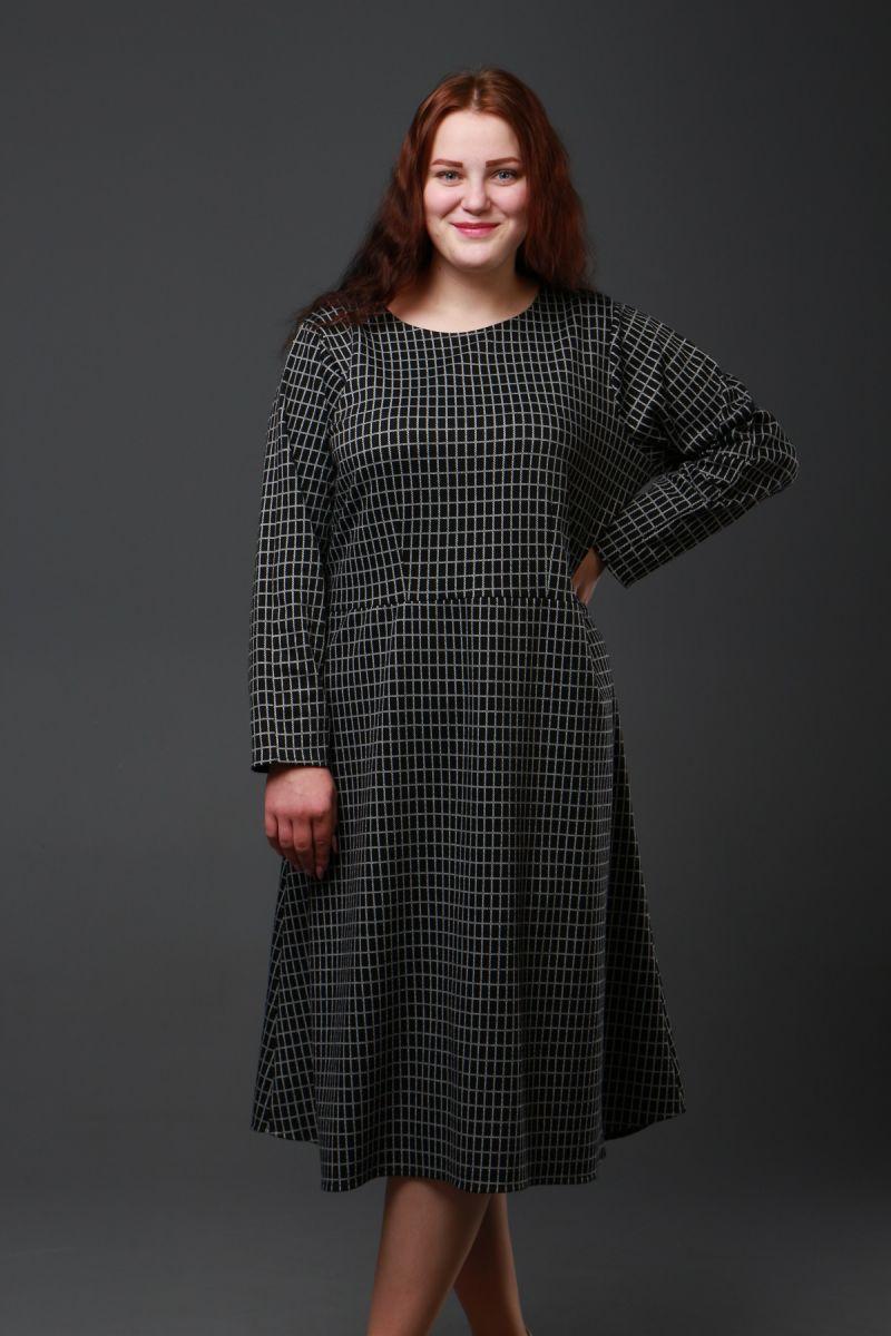 Платье в клетку большого размера доступно в цвете 50-72рр 000-276 - Victorya-Shop.com