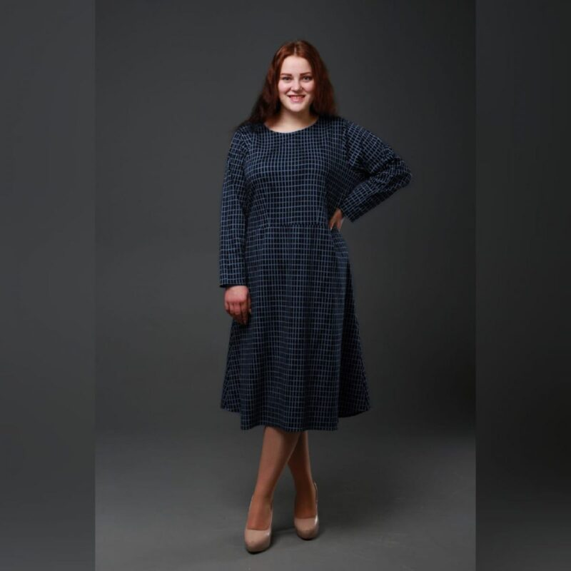Платье в клетку большого размера доступно в цвете 50-74рр 000-614 - Victorya-Shop.com