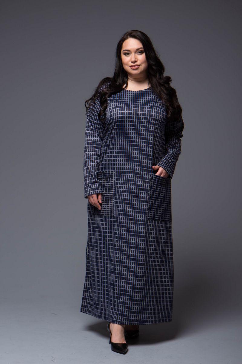 Платье в клетку большого размера синий 000-700 - Victorya-Shop.com