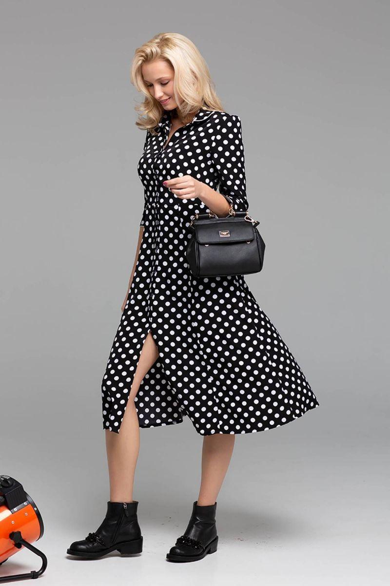 Платье в крупный горох BON черное 00-13403 - Victorya-Shop.com
