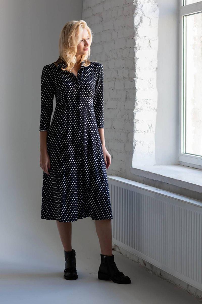 Платье в крупный горох BON черное 00-13404 - Victorya-Shop.com