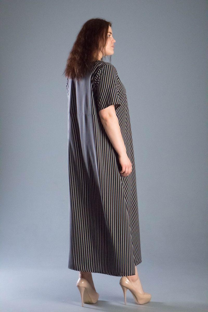 Платье в полоску большого размера софт 000-542 - Victorya-Shop.com