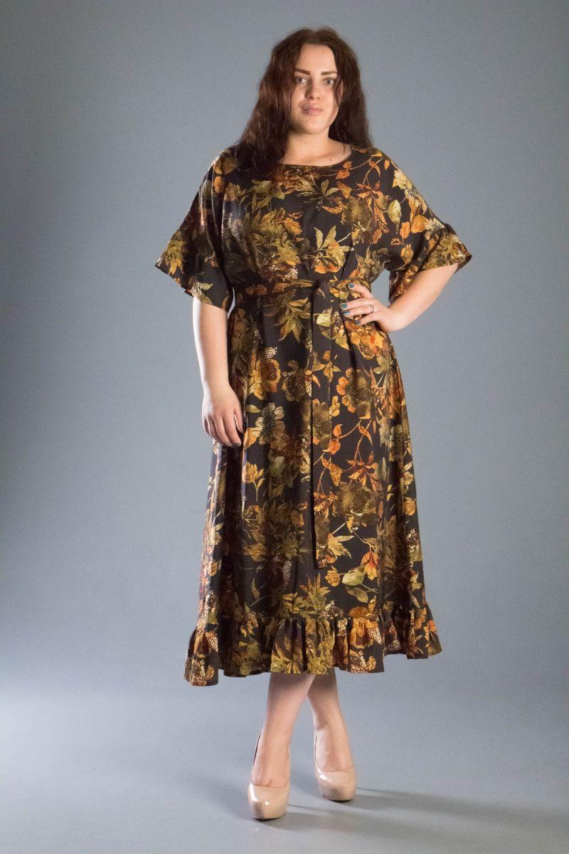 Платье в узоры большого размера из натуральной ткани 000-548 - Victorya-Shop.com