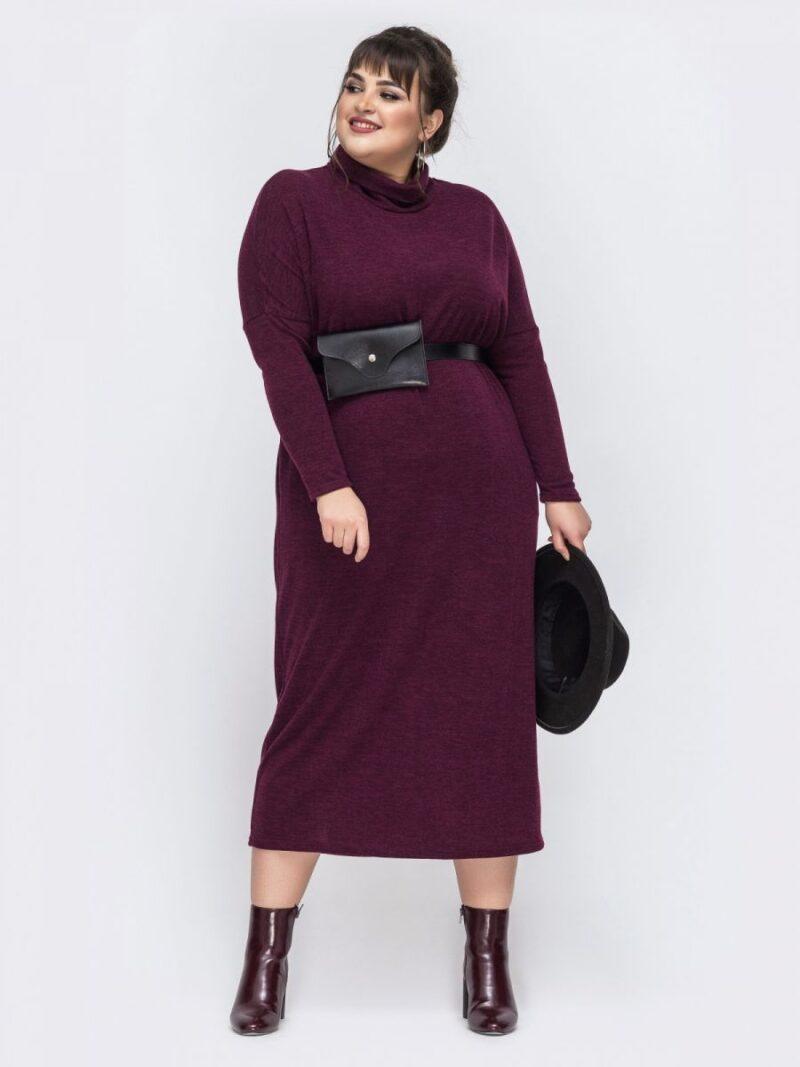Платье женское из трикотажа ангора большого размера  бордо 000-684 - Victorya-Shop.com