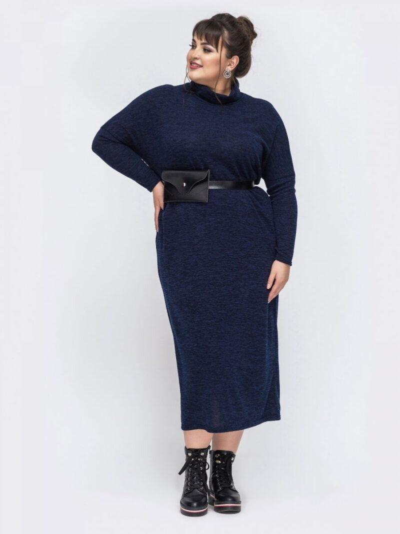 Платье женское из трикотажа ангора большого размера  синий 000-683 - Victorya-Shop.com