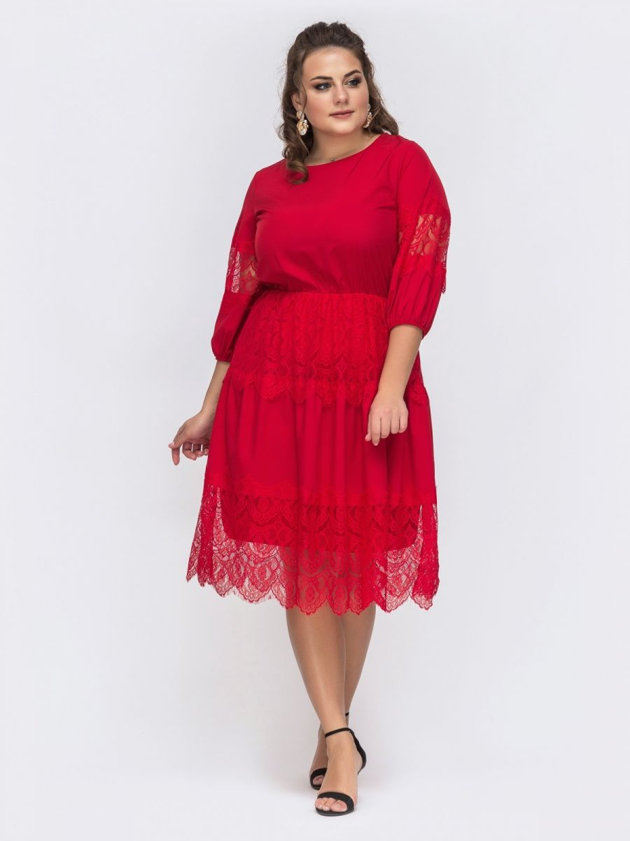 Расклешенное красное платье из струящегося софта 000-365 - Victorya-Shop.com
