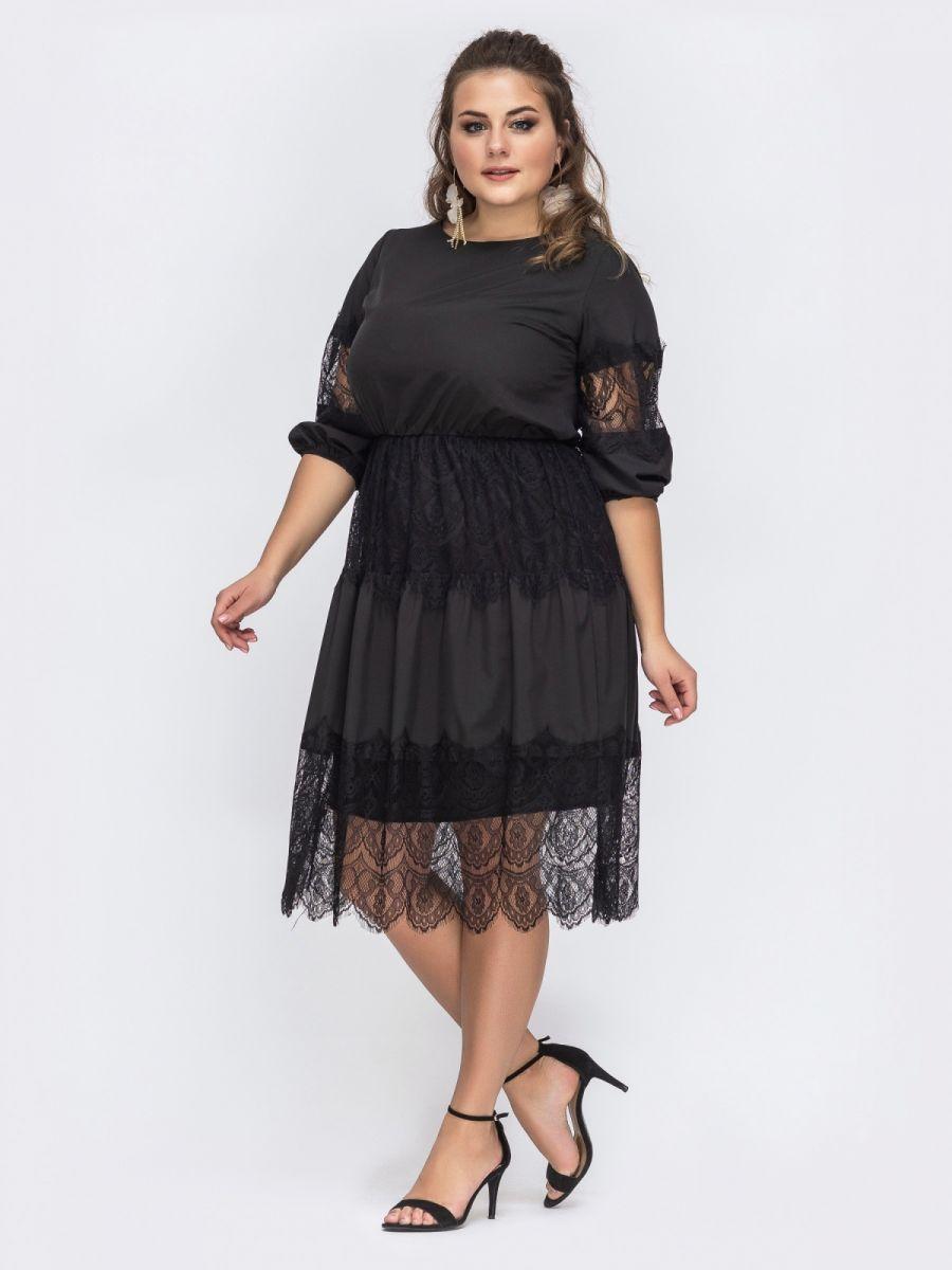 Расклешенное черное платье из струящегося софта 000-364 - Victorya-Shop.com