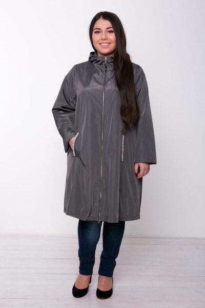 Расклешенный плащ с капюшоном РИКА серый 00-862 - Victorya-Shop.com
