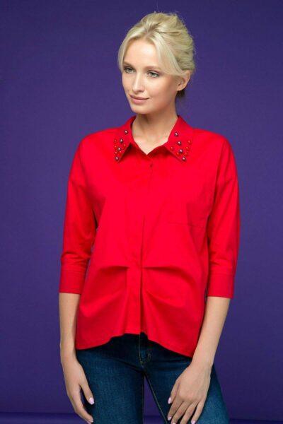 Рубашка с декором из жемчуга TERY красный 00-13382 - Victorya-Shop.com