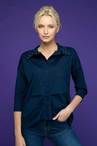 Рубашка с декором из жемчуга TERY темно-синяя 00-13381 - Victorya-Shop.com