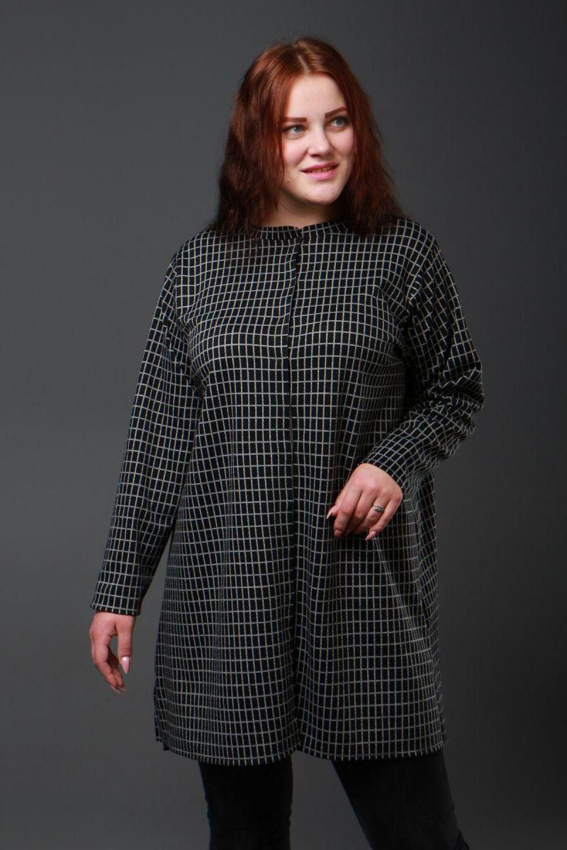 Рубашка  - туника большого размера в клетку доступна в цвете 50-72рр 000-280 - Victorya-Shop.com