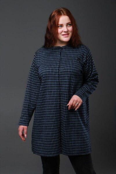 Рубашка  - туника большого размера в клетку синий 50-72рр 000-613 - Victorya-Shop.com