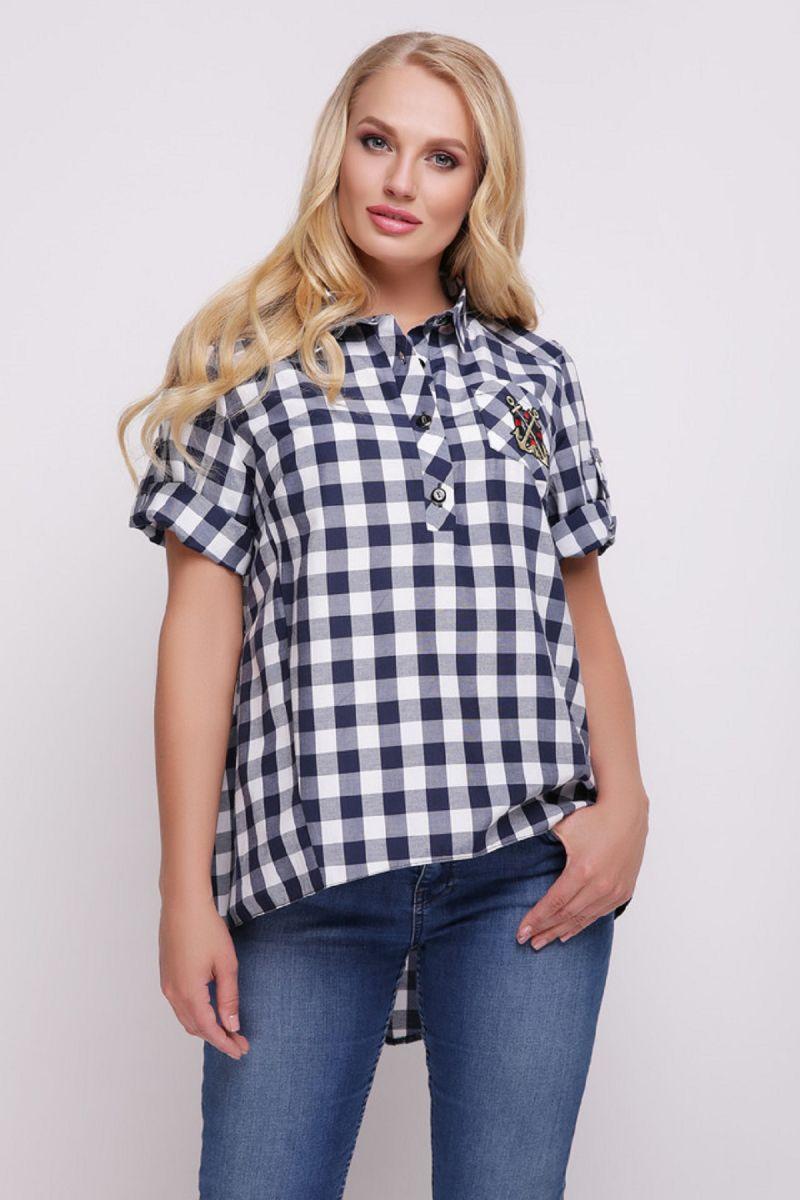Рубашка женская Ангелина синяя клетка 00-1172 - Victorya-Shop.com