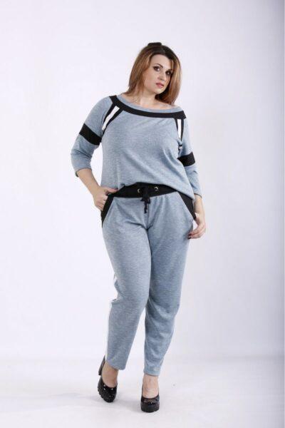 Серый спортивный костюм бирюза  00-133693 - Victorya-Shop.com