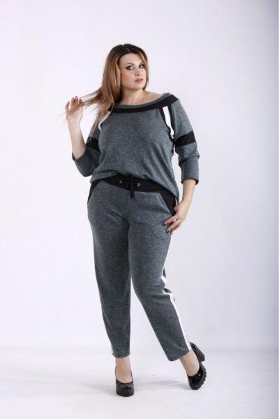Серый спортивный костюм темно-зеленый 00-133694 - Victorya-Shop.com