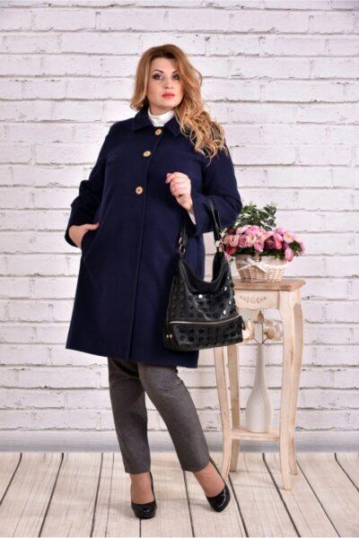 Синее пальто классического кроя 00-133729 - Victorya-Shop.com