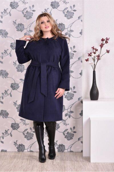 Синее пальто классического кроя 00-133734 - Victorya-Shop.com