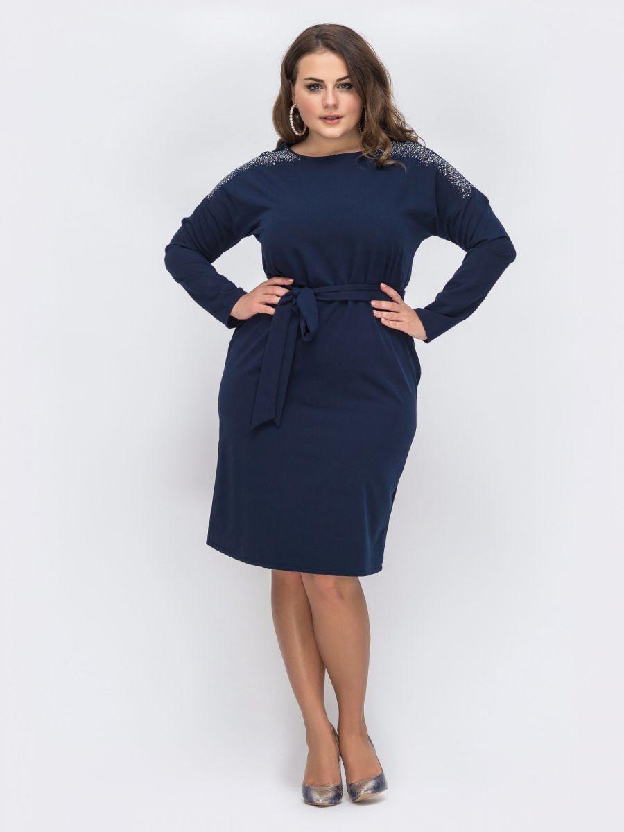 Синее платье большого размера со стразами  000-358 - Victorya-Shop.com