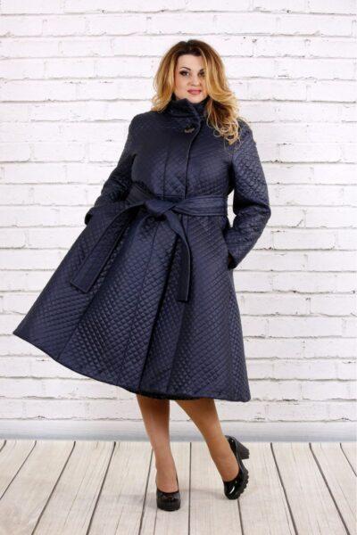 Синее стеганное пальто  00-133726 - Victorya-Shop.com