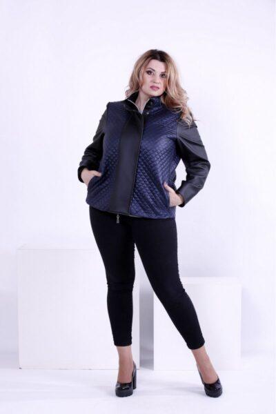 Синяя короткая демисезонная куртка 00-133721 - Victorya-Shop.com