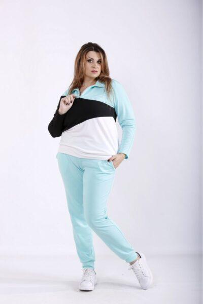 Спортивный костюм большого размера мята  00-133690 - Victorya-Shop.com