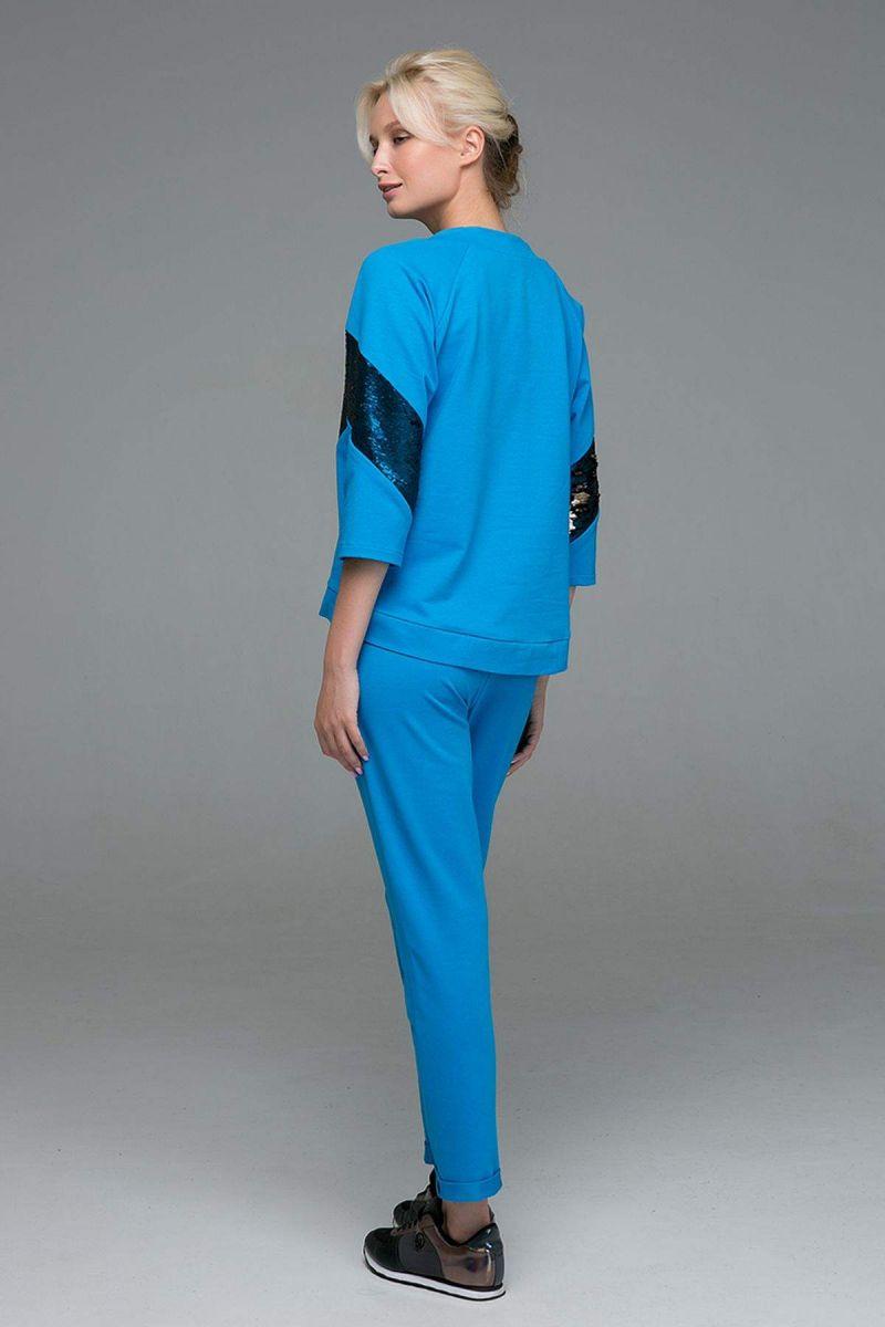 Спортивный костюм с двусторонними пайетками ANDY голубой00-13384 - Victorya-Shop.com