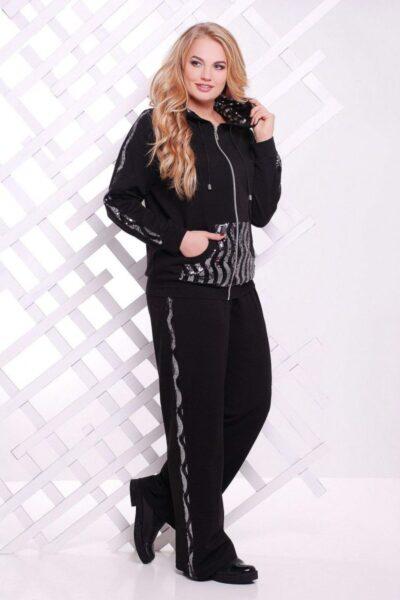 Спортивный костюм с серебряными пайетками 00-1337509 - Victorya-Shop.com