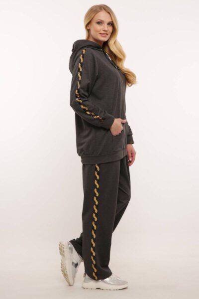 Спортивный костюм (золотая змейка)  серый  000-466 - Victorya-Shop.com