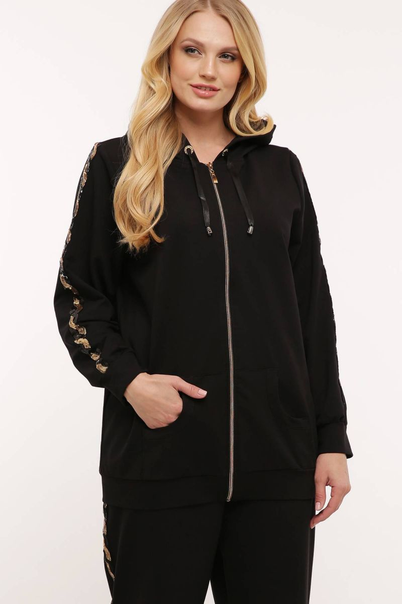 Спортивный костюм (золотая змейка)  черный 000-469 - Victorya-Shop.com