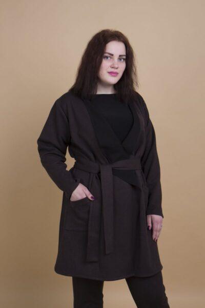 Стильный кардиган имитация кожи цвет шоколад  000-470 - Victorya-Shop.com