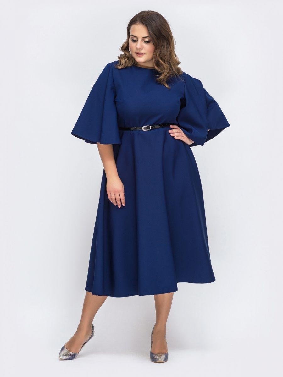 """Тёмно-синее платье батал с рукавом """"колокол"""" 000-362 - Victorya-Shop.com"""