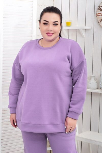 Теплая кофта-толстовка большого размера доступна в цвете 000-633 - Victorya-Shop.com