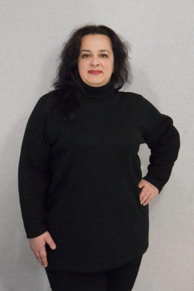 Теплая туника гольф из натуральной шерсти большого размера черный 000-654 - Victorya-Shop.com