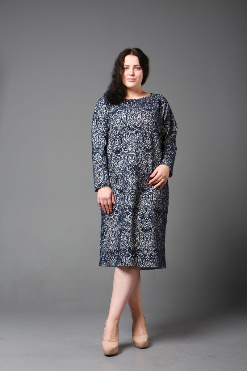 Теплое платье большого размера Морис 000-203 - Victorya-Shop.com
