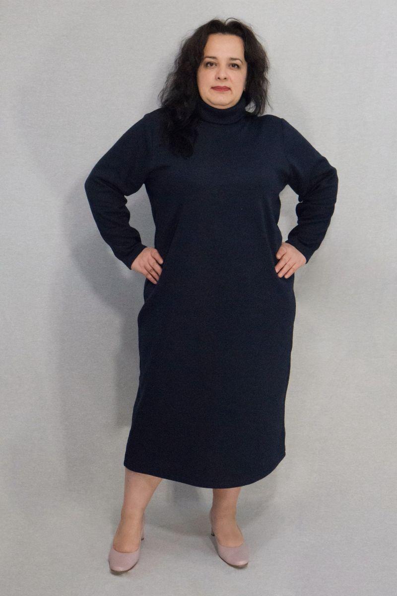 Теплое платье-гольф  из шерсти большого размера синий  000-650 - Victorya-Shop.com