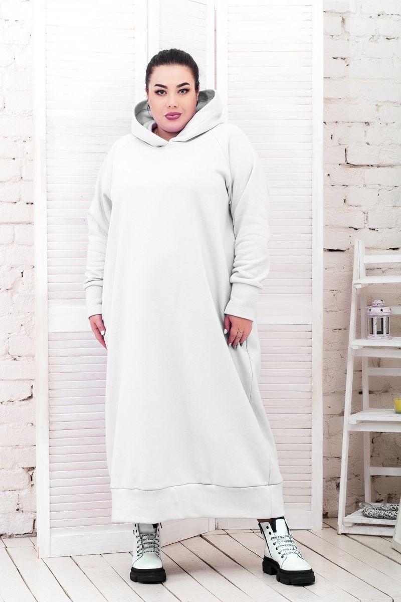 Теплое платье Худи флис доступно в цвете  000-631 - Victorya-Shop.com
