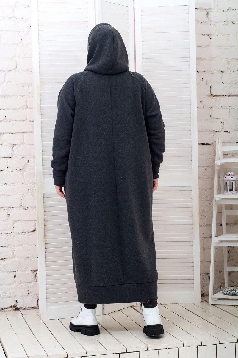Теплое платье Худи флис графит доступно в цвете 000-629 - Victorya-Shop.com