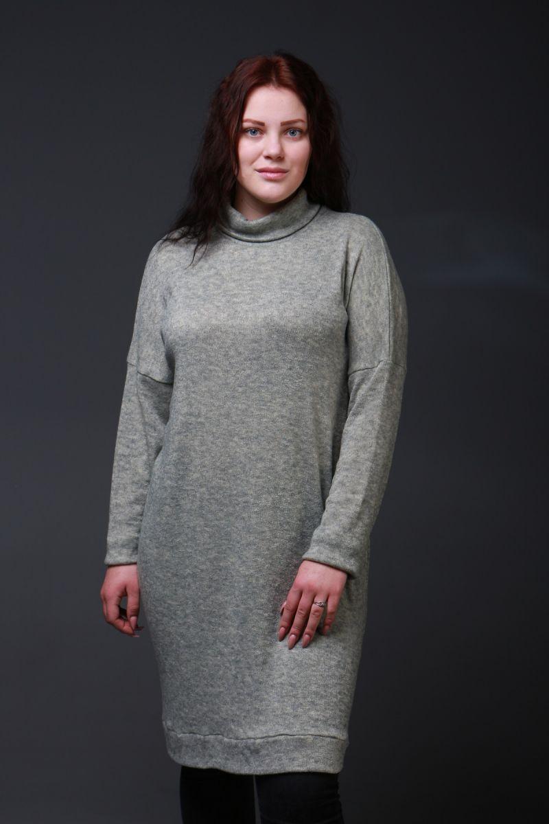 Теплое платье из ангоры большого размера доступно в цвете 000-337 - Victorya-Shop.com