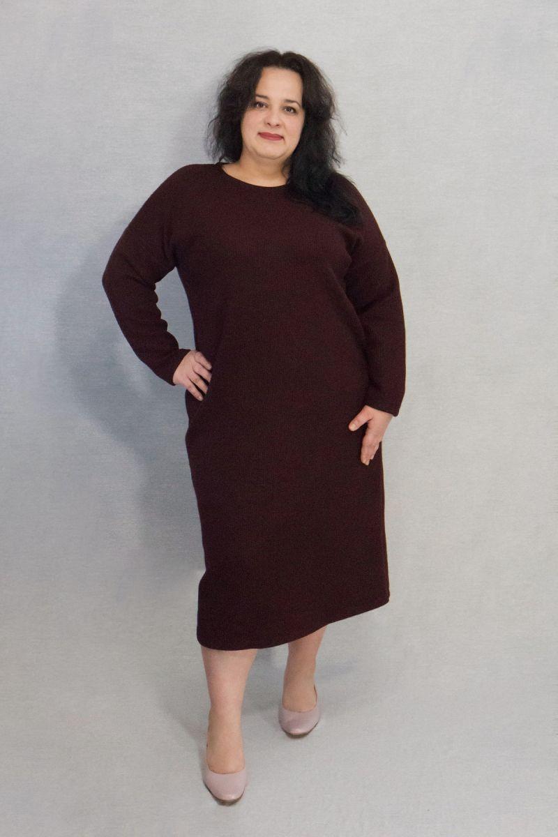Теплое платье из ангоры плотная вязка люкс бордо 000-647 - Victorya-Shop.com
