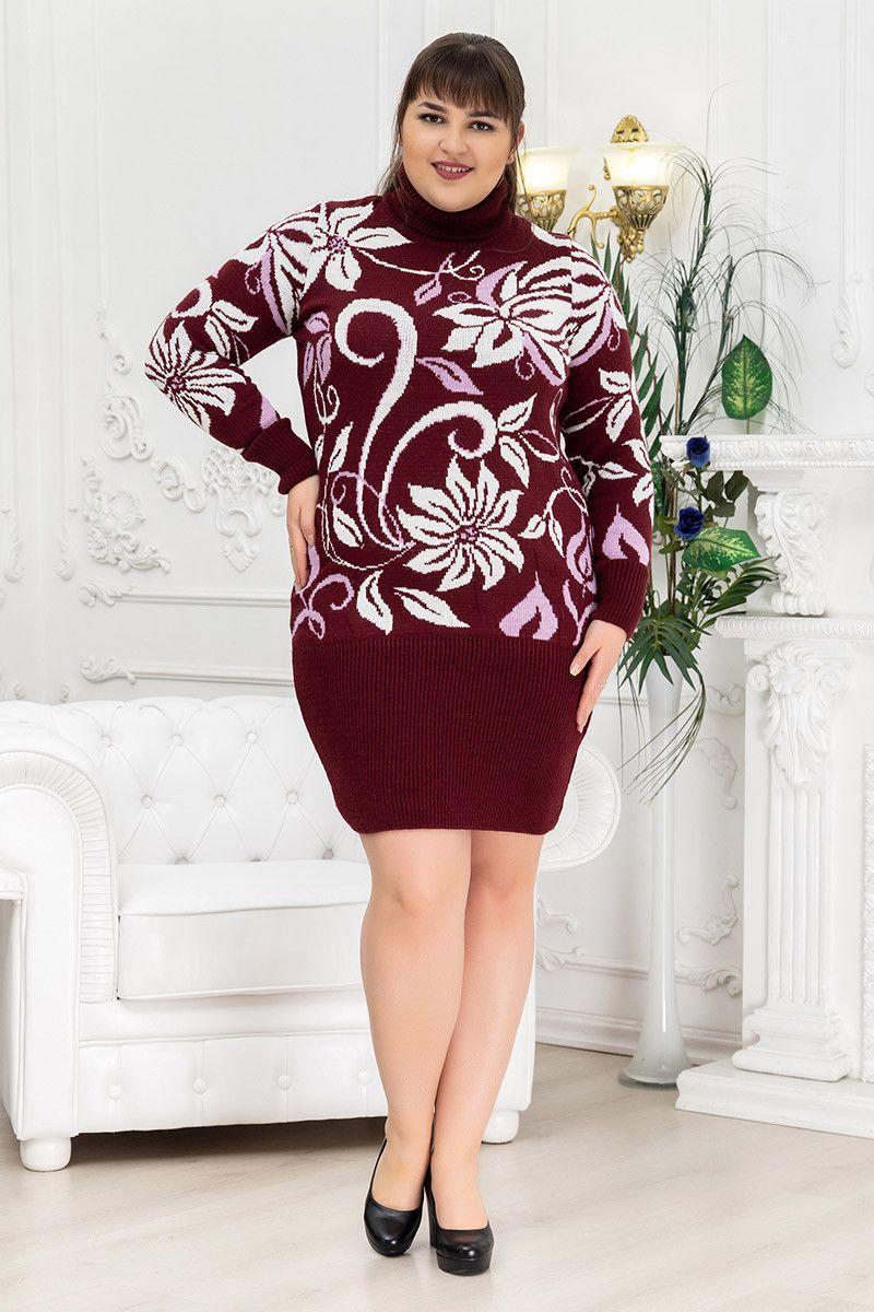 Теплое зимнее платье вязка для полных 000-679 - Victorya-Shop.com