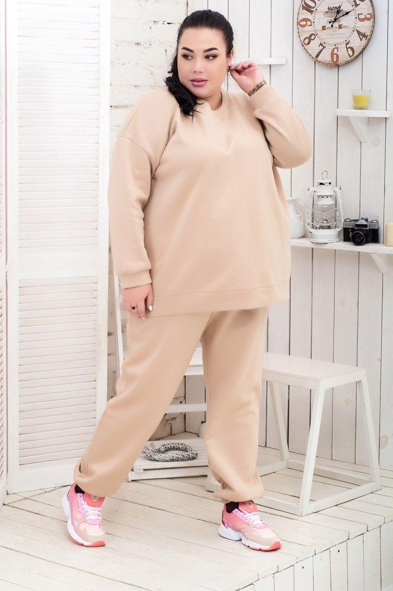 Теплый костюм большого размера флис доступно в цвете  000-626 - Victorya-Shop.com