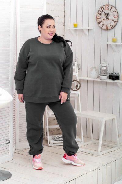 Теплый костюм большого размера флис  графит доступно в цвете 000-627 - Victorya-Shop.com