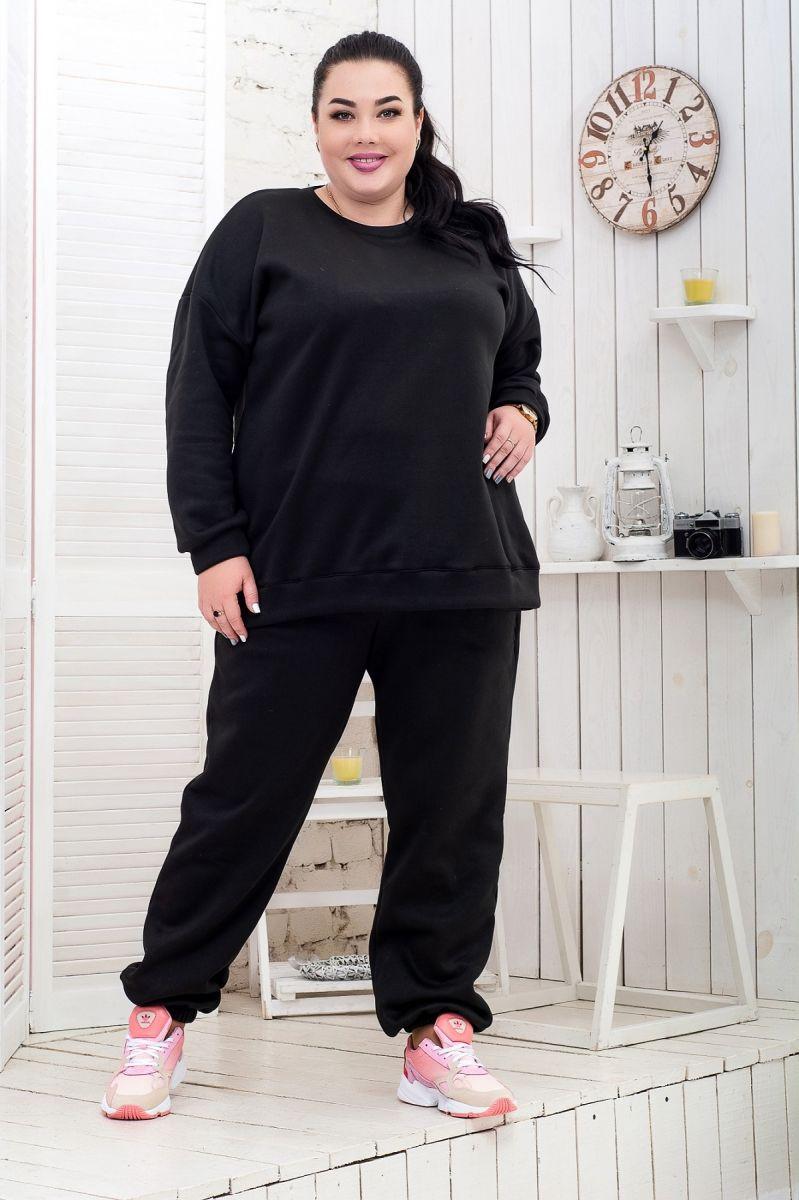 Теплый костюм большого размера флис черный доступно в цвете  000-625 - Victorya-Shop.com