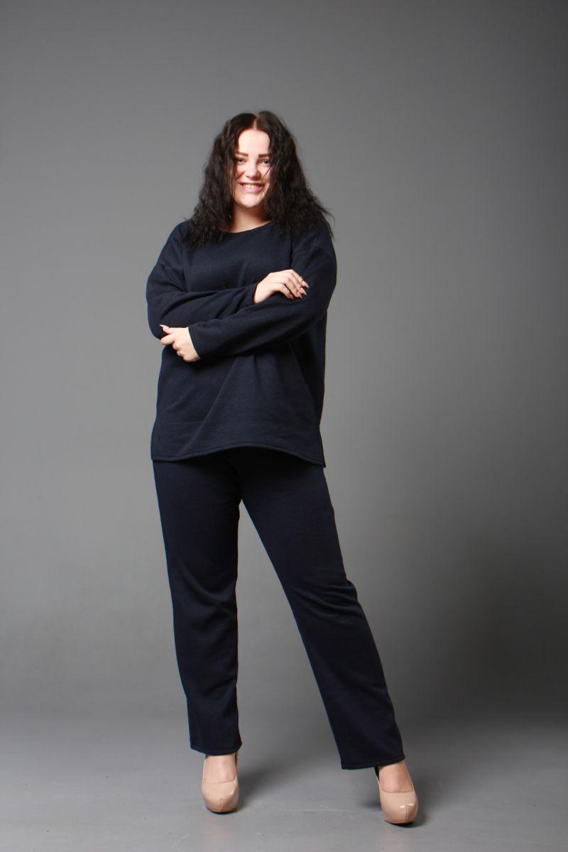 Теплый костюм двойка большого размера из шерстяного трикотажа синий   000-598 - Victorya-Shop.com