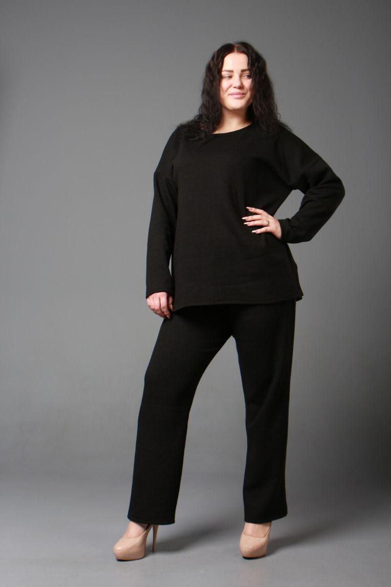 Теплый костюм двойка большого размера из шерстяного трикотажа черный  000-597 - Victorya-Shop.com