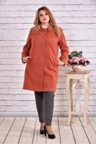 Терракотовое пальто классического кроя 00-133728 - Victorya-Shop.com