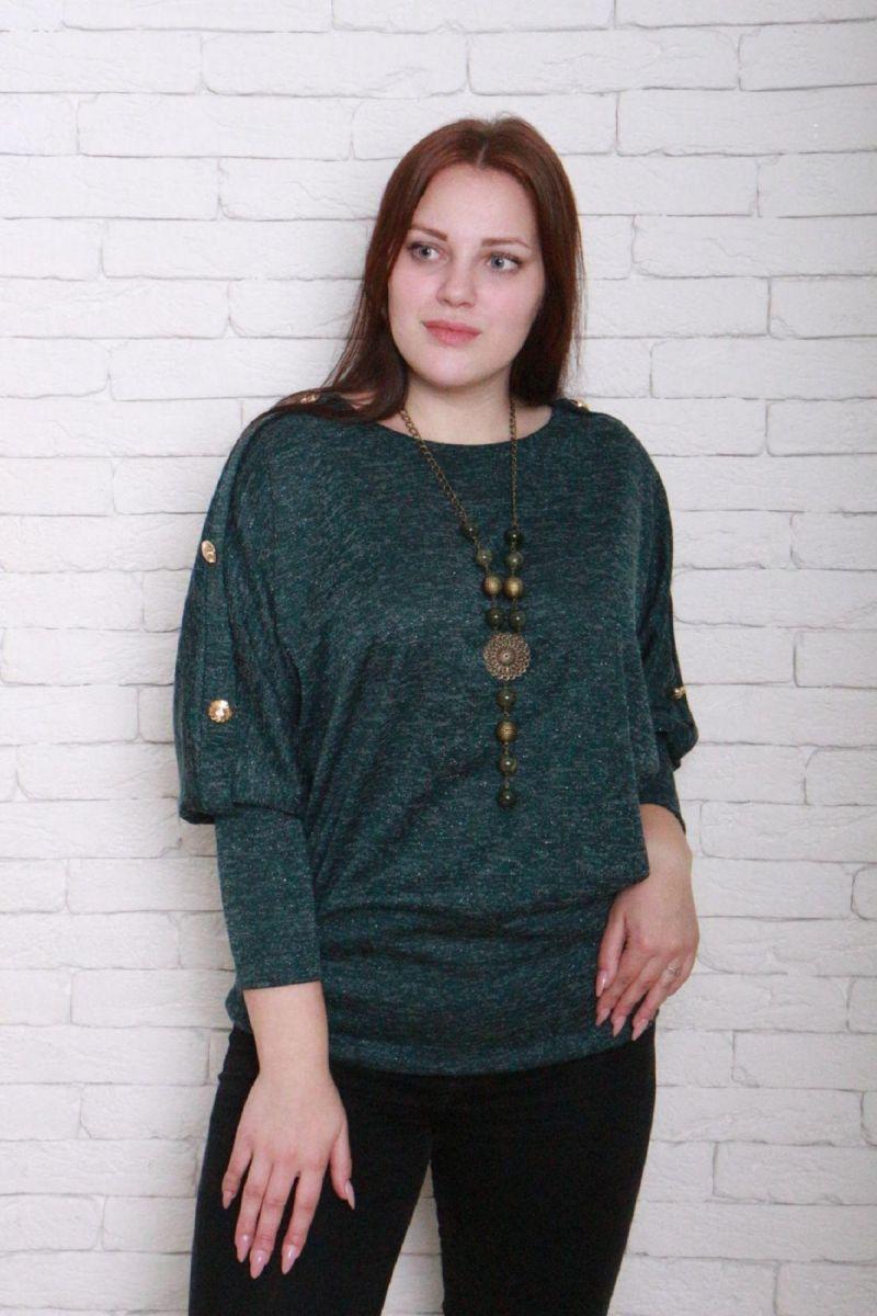 Туника большого размера ангора софт люрекс Виола цвет зеленый 000-200 - Victorya-Shop.com