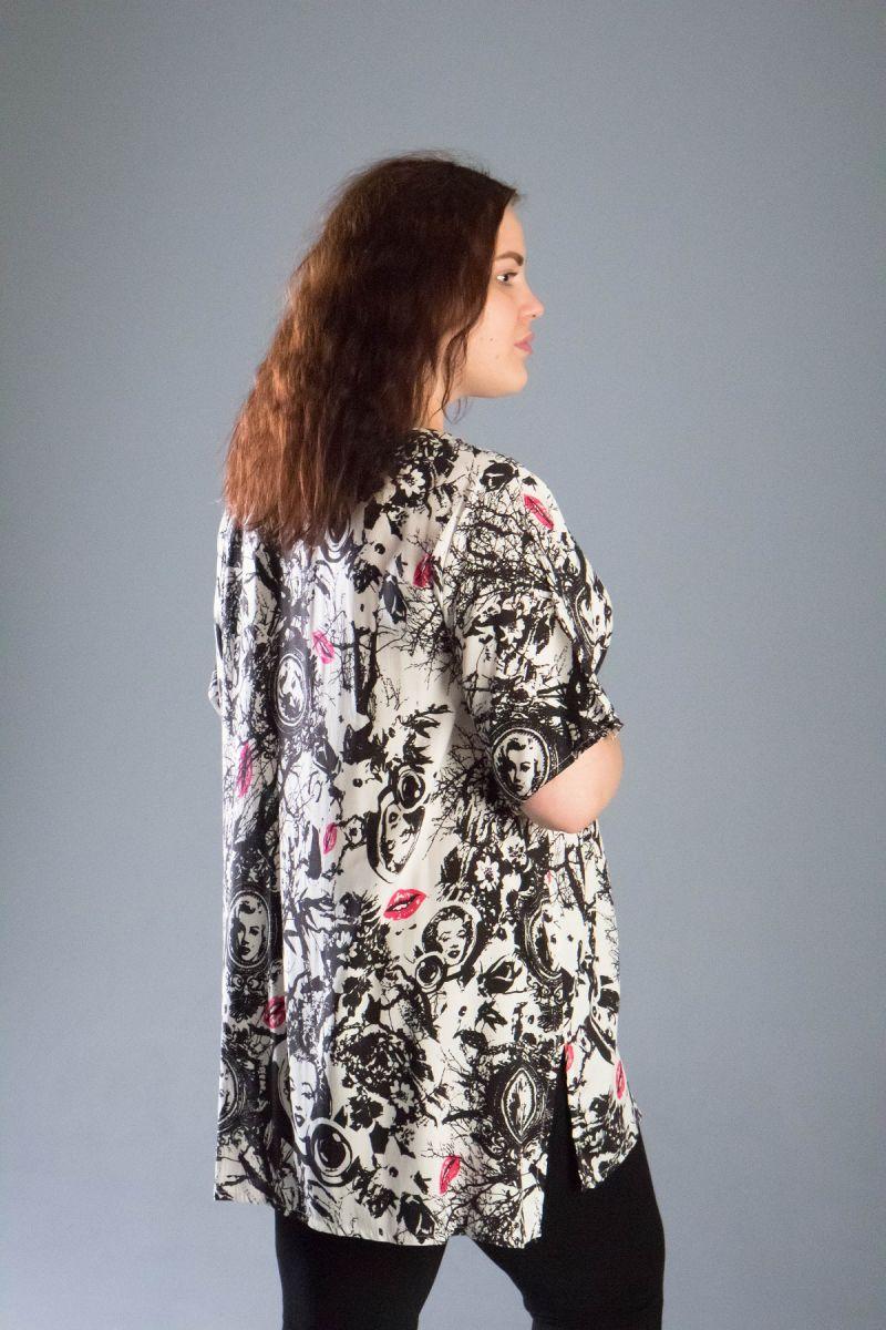Туника большого размера из натуральной ткани доступна в цвете 000-539 - Victorya-Shop.com