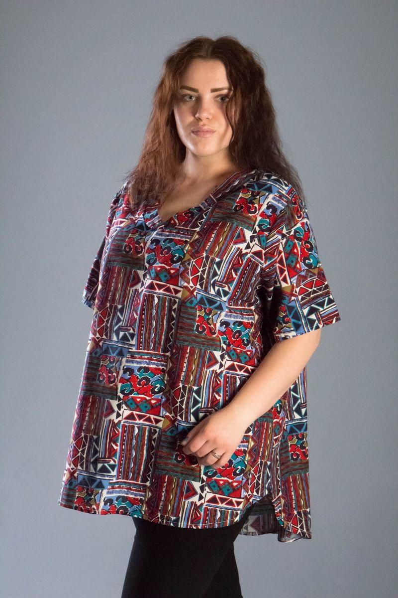 Туника большого размера из натуральной ткани доступна в цвете 000-540 - Victorya-Shop.com