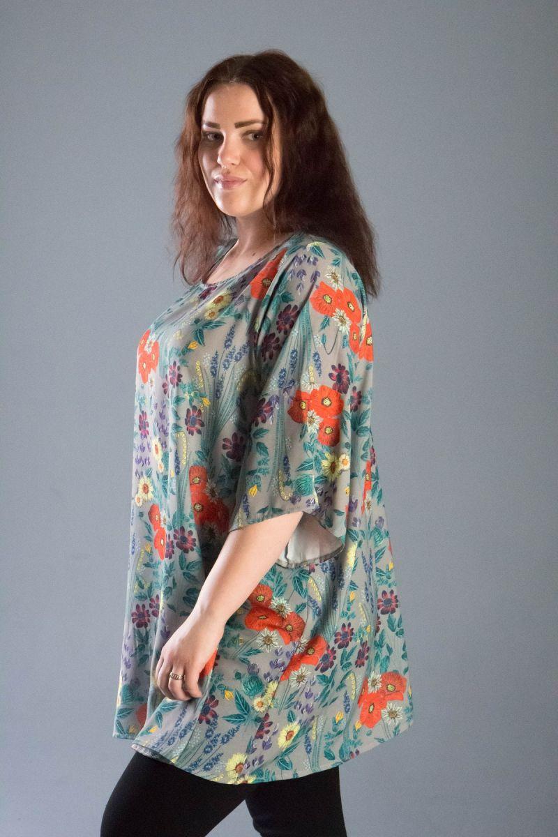 Туника большого размера в цветочный принт софт Цветик 000-544 - Victorya-Shop.com